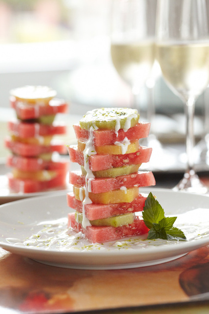 yellow and green kiwi with watermelon and coconut lime crème
